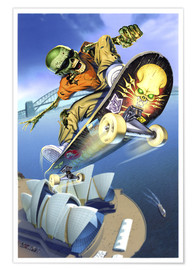 Premiumposter  Skateboarding over Opera House - Extreme Zombies