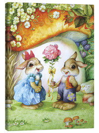 Canvastavla  Rabbits and rose - Petar Meseldzija