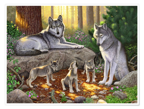 Premiumposter A family of wolves