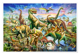 Premiumposter Assembly of dinosaurs