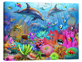 Canvastavla  Dolphin coral reef - Adrian Chesterman