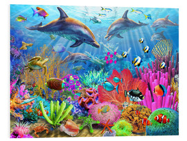 PVC-tavla  Dolphin coral reef - Adrian Chesterman