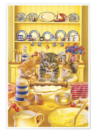 Premiumposter Cats cooking cake