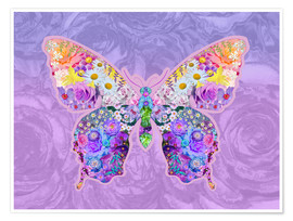 Premiumposter Purple Floral Buttefly