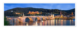 Premiumposter  Heidelberg skyline panorama at night with castle and Old Bridge - Jan Christopher Becke