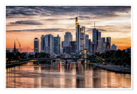 Premiumposter  Frankfurt Skyline Sunset Skyscrapers - Frankfurt am Main Sehenswert
