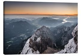 Canvastavla  Sunrise from Zugspitze mountain with view across the alps - Andreas Wonisch