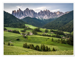 Premiumposter View over Funes in the Dolomites