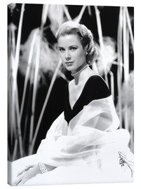 Canvastavla  Grace Kelly with a tulle shawl