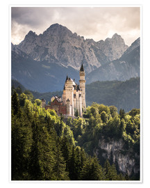 Premiumposter  Neuschwanstein Castle in front of the Alps - Andreas Wonisch