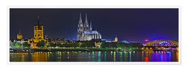 Premiumposter  Cologne skyline at night - FineArt Panorama