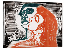 Canvastavla  Man and woman is kissing - Edvard Munch