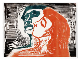 Premiumposter  Man and woman is kissing - Edvard Munch