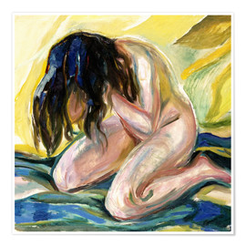 Premiumposter  Female nude kneeling - Edvard Munch