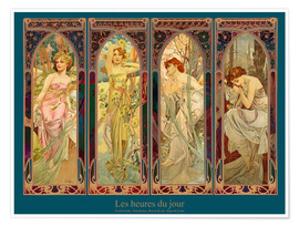 Poster  Les heures du jour, nuit collage (French) - Alfons Mucha