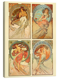 Canvastavla  The four arts, collage - Alfons Mucha