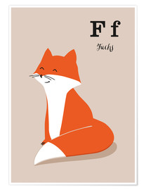 Premiumposter  The animal alphabet - F like fox - Sandy Lohß