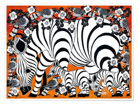 Premiumposter  Zebra mother with baby - Zuberi