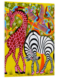 PVC-tavla  Zebra with Giraffe in the bush - Omary