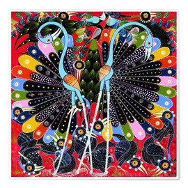 Premiumposter  Peacock in courtship - Stephan