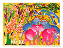 Premiumposter  Groups of animals in the bush - Omary
