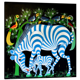 Aluminiumtavla  Blue Zebras at night - Rafiki