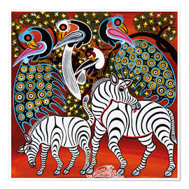 Premiumposter  Zebras with peacock - Mzuguno
