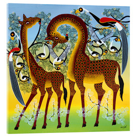 Akrylglastavla  Giraffes at the bird tree - Noel