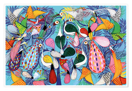 Premiumposter  A flock of birds with butterflies - Allyys