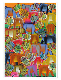 Premiumposter Colorful hippo herd
