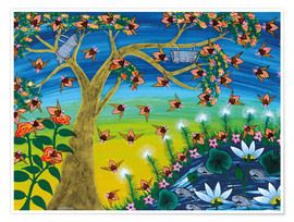 Premiumposter  Bees on a tree - Majidu