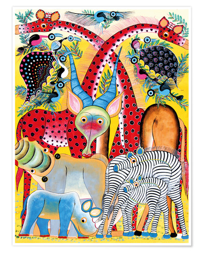 Premiumposter Colorful wild animals of Africa