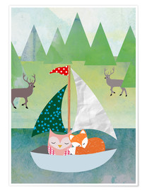 Premiumposter Cute Owl and Fox Boat
