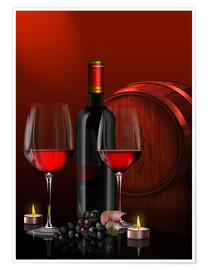 Premiumposter Two wine glasses with red wine bottle and grapes