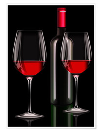 Premiumposter Red wine, red wine bottle with two glasses of red wine