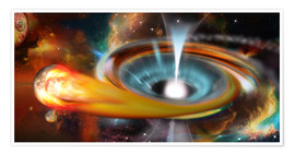 Premiumposter Black hole with Pulsar, universe, galaxy