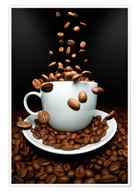 Premiumposter Falling coffee beans cup