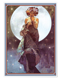 Premiumposter  The full moon, adaptation - Alfons Mucha