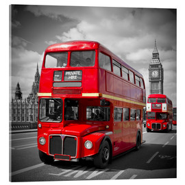 Akrylglastavla  LONDON Red Buses - Melanie Viola