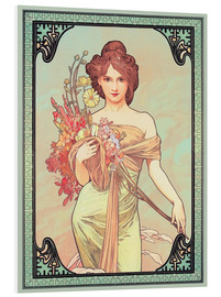 PVC-tavla  The Seasons (1900): Spring, detalj - Alfons Mucha