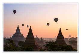Premiumposter  Balloons and temples, Bagan - Matteo Colombo