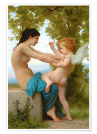 Premiumposter  A young girl defending herself against Eros - William Adolphe Bouguereau