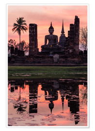 Premiumposter Wat Mahathat in evening light