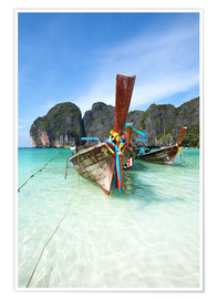 Poster Decorated wooden boats, Thailand