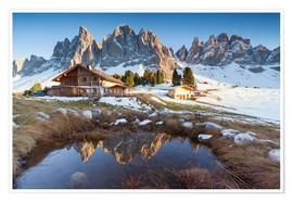 Premiumposter Hut and Odle mountains, Dolomites
