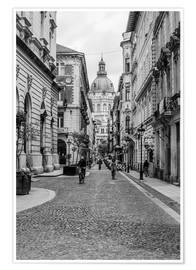 Premiumposter  Budapest - view into an alley with church tower - Frank Herrmann