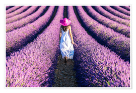 Premiumposter Girl in a lavender field