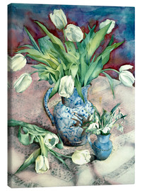 Canvastavla  Tulips and Snowdrops - Julia Rowntree