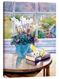 Canvastavla  Flowers and Book on Table - Julia Rowntree