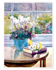Poster  Flowers and Book on Table - Julia Rowntree